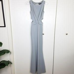 Lulus Trista Gray Side Cutout Maxi Dress Sz XS